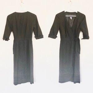 J Crew Charcoal Elbow Sleeve Wrap Wool Dress